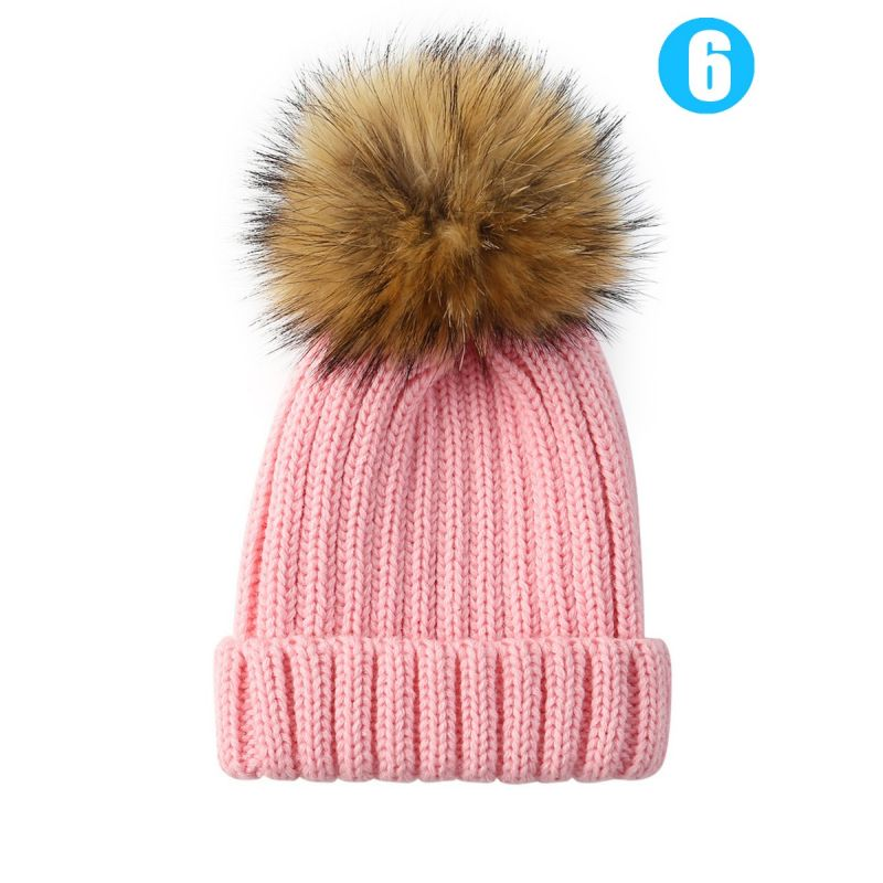 Baby Toddler Faux Fur Pom Knitted Beanie Hat Solid Color