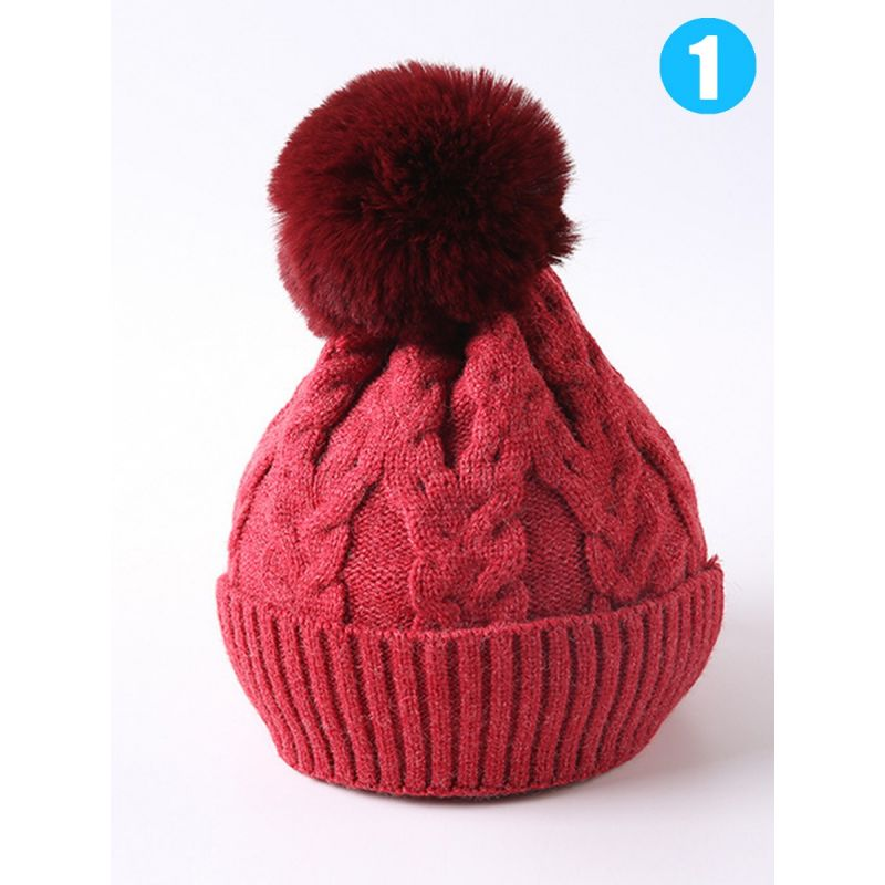 Baby Toddler School Kids Pom Cable Knit Beanie Hat