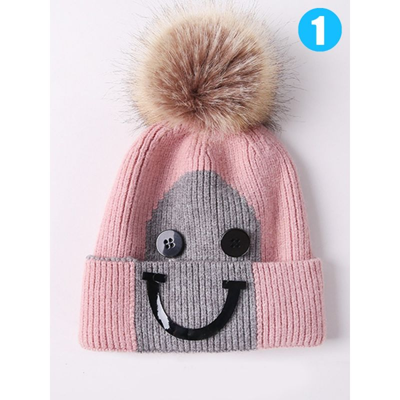 Big Smile Style Faux Fur Pom Knitted Beanie Hat for Baby Toddler Children