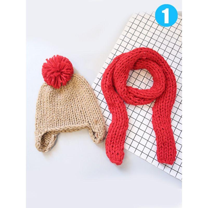 fe669140196 2PCS Knitted Hat Scarf Set Pom Knit Earflap Hat+Solid Color Scarf Winter  Infant Children