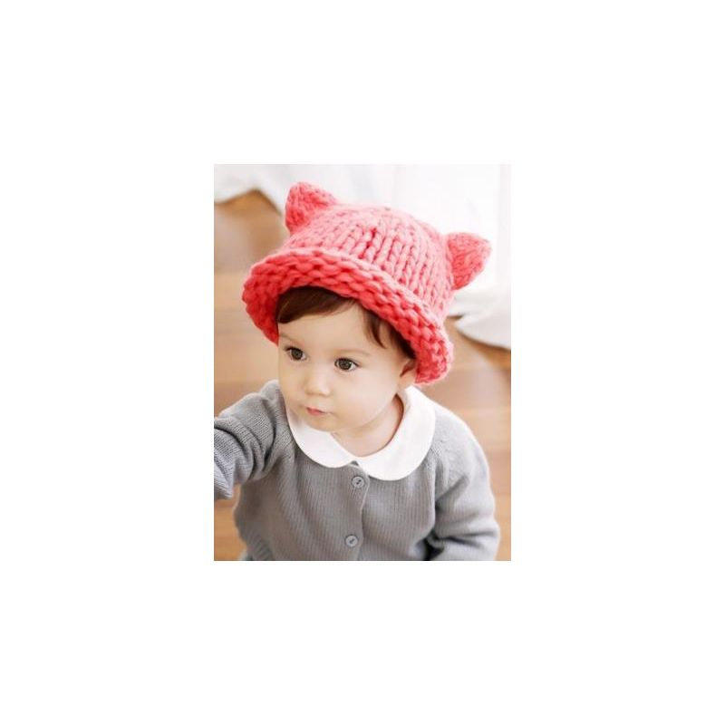 839655a4aeb Cute Cartoon Animal Ear Cable Knit Beanie Hat Solid Color Baby Toddler  Muffler