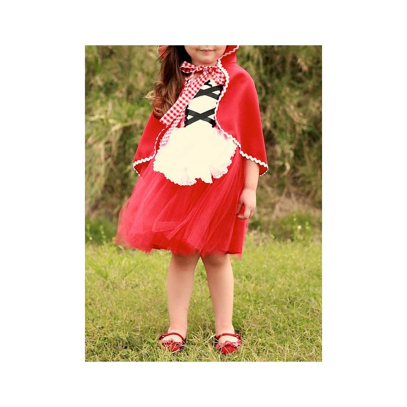 2PCS Christmas Poncho Dress Set Red Poncho+Checked Tulle Sundress for Baby Toddler Big Girls