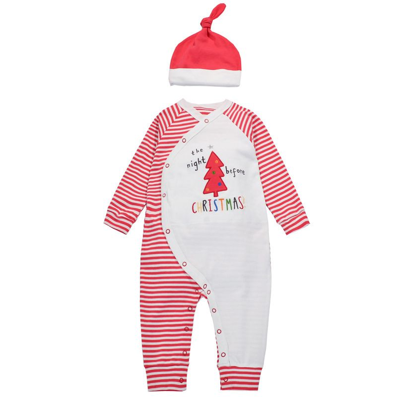 Christmas Tree Striped Buttoned Newborn Baby Cotton Romper Jumpsuit with White and Red Hat