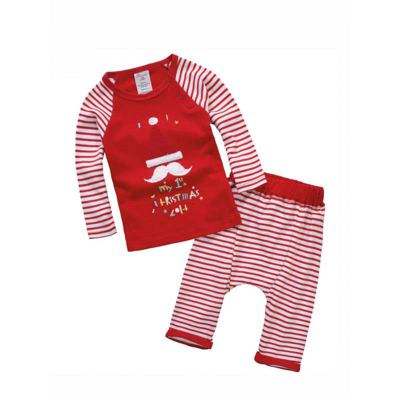 2PCS Baby Toddler Christmas Casual Cotton Clothes Set My 1st Christmas Santa Claus'cap Striped T-shirt+Striped Long Pants