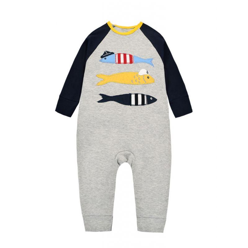 Fish Color Blocking Cotton Baby Jumpsuit Newborn Romper