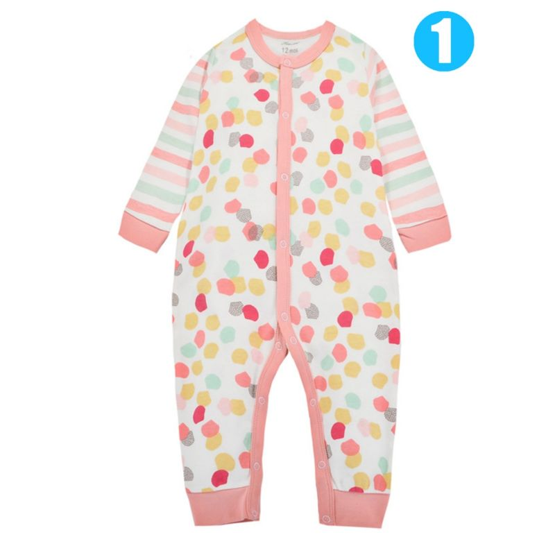 Colorful Dots/Rain Bow Pattern Buttoned Baby Romper Cotton Jumpsuit