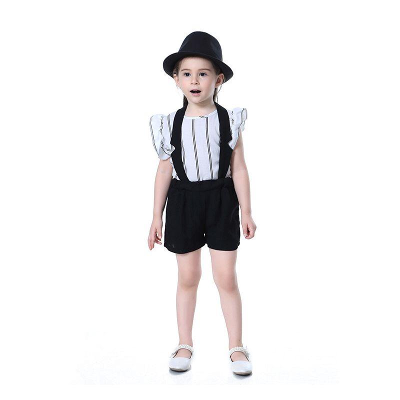 2PCS Toddler Big Girl Summer Clothes Set Outfit Ruffled Sleeve Strip T-shirt+Black Suspender Short Pants