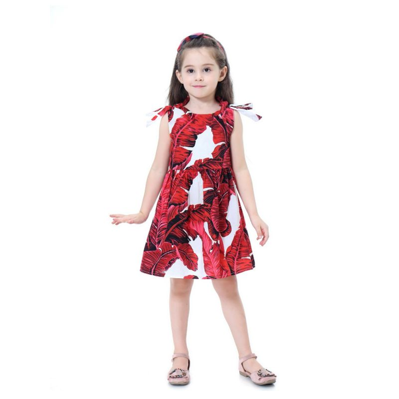Toddler Big Girl Big Leaf Print Sleeveless Cotton Casual Dress