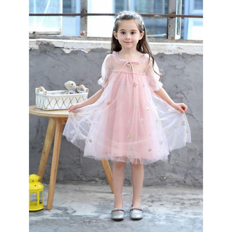 Toddler Big Girl Kids Sequined Star Tulle Princess Dress Short Sleeve
