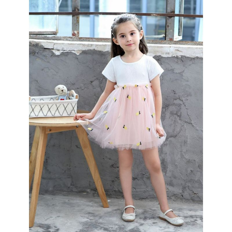 Pineapple Embroidery Patchwork Tulle Dress Short Sleeve