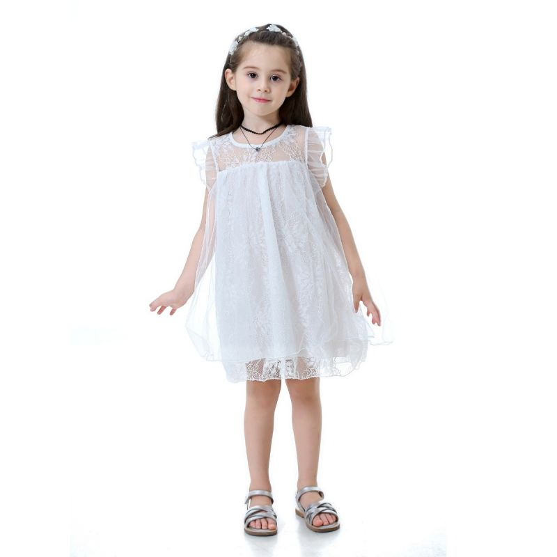 Illusion Lace Flutter Sleeve Baptism Dress Christening White Gown Mesh Dress for Summer