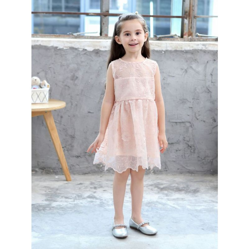 Stylish Sleeveless Organza Flower Embroidery Pink Princess Dress with Scalloped Hem for Toddler Big Girls