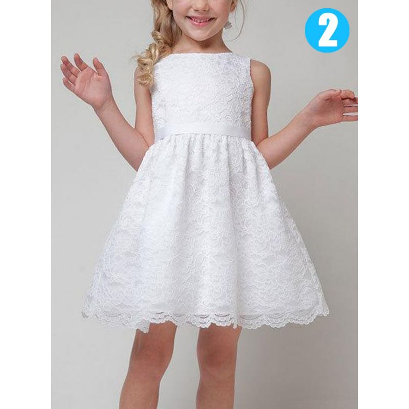 First Holy Communion Dress Illusion Lace Sleeveless Flower Girl Dress