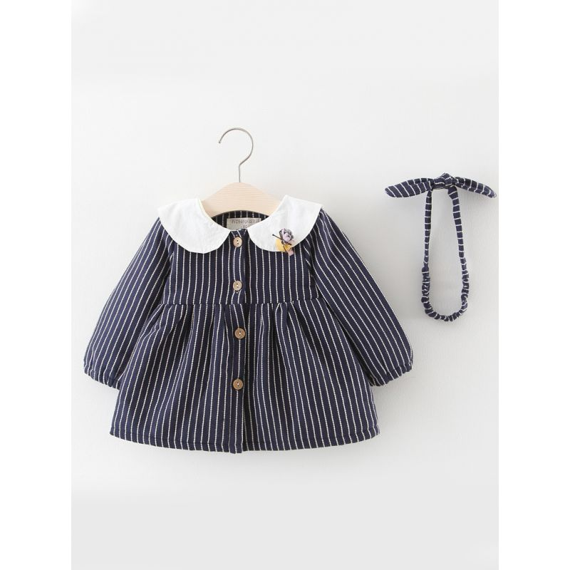 Adorable Striped Buttoned Bunny Pattern Thick Fleece-lined Infant Girl Dress with Bow Headband