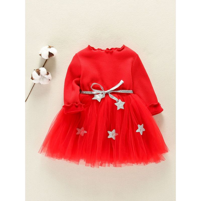 Solid Color Baby Fleece-lined Patchwork Tulle Dress with Shiny Star Belt Infant Princess Dress