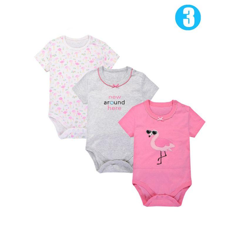 3PCS/PACK Cartoon Newborn Baby Summer Romper Vest Unisex Bodysuit