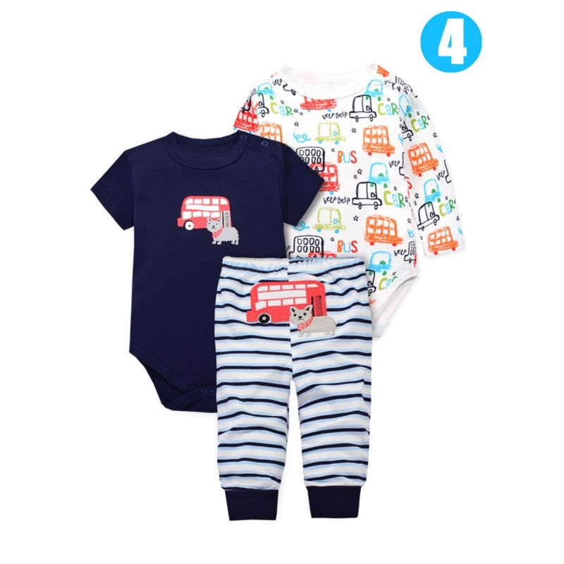 3PCS Newborn Baby Cotton Clothes Set Short Sleeve Romper+Long Sleeve Romper+Long Pants