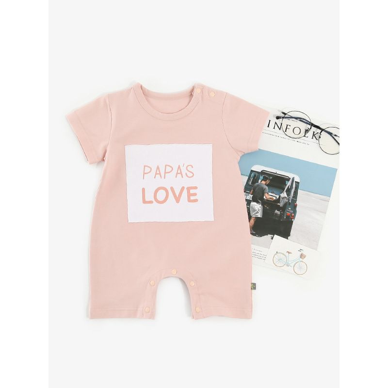 Letter Print Color Blocking Baby Romper Bodysuit for Summer