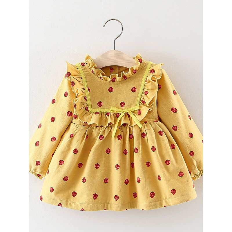 Strawberry Ruffled Fleece-lined Baby Girl Dress Infant Winter Apparel