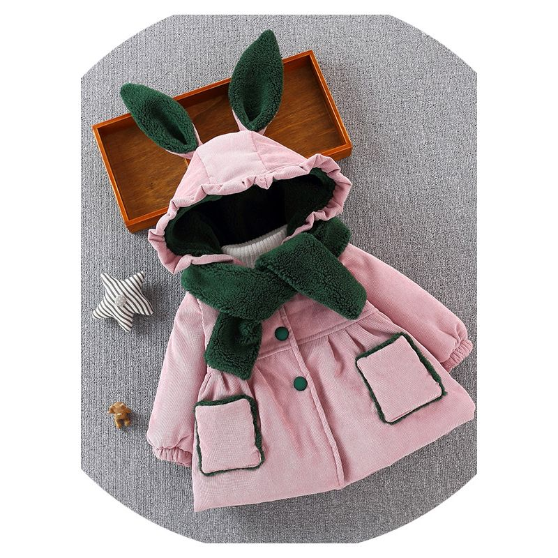 Animal Ear Fleece-lined Hooded Thick Baby Jacket Coat with Scarf