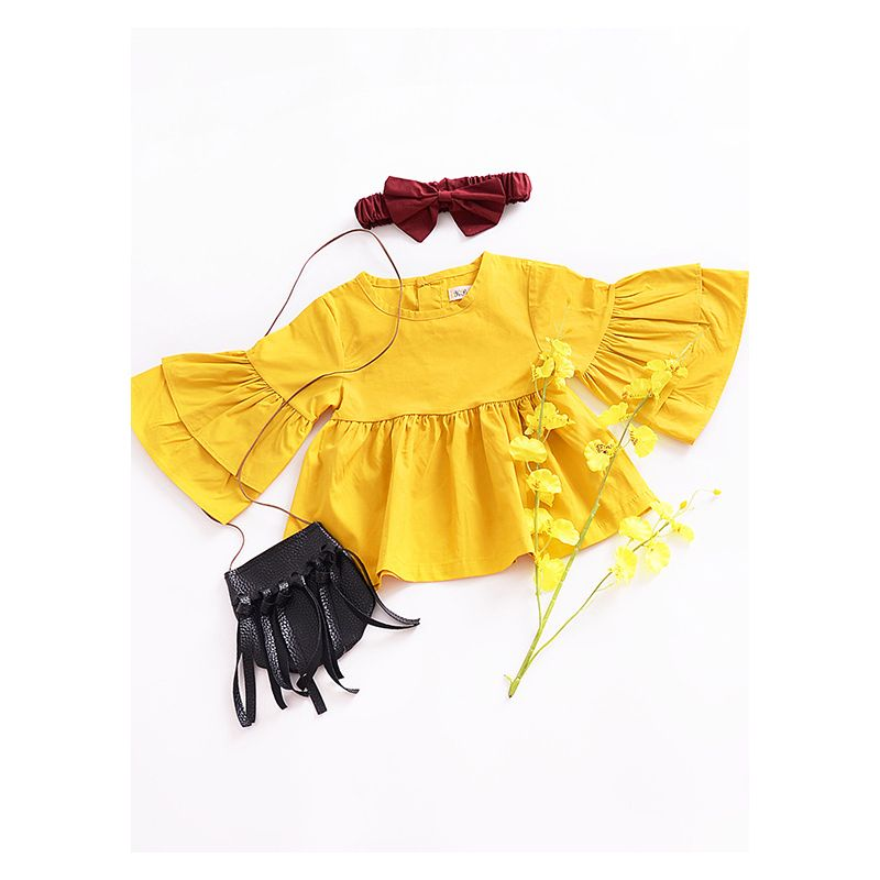 Fashion Flare Sleeve Baby Toddler Girl Yellow Shirt Top