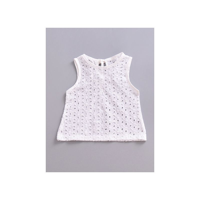 Baby Girl Sleeveless Pierced White Shirt Top for Summer