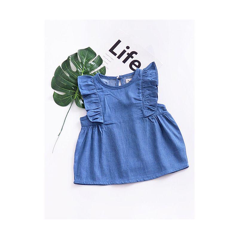 Baby Girl Flutter Sleeve Summer Casual Denim Dress