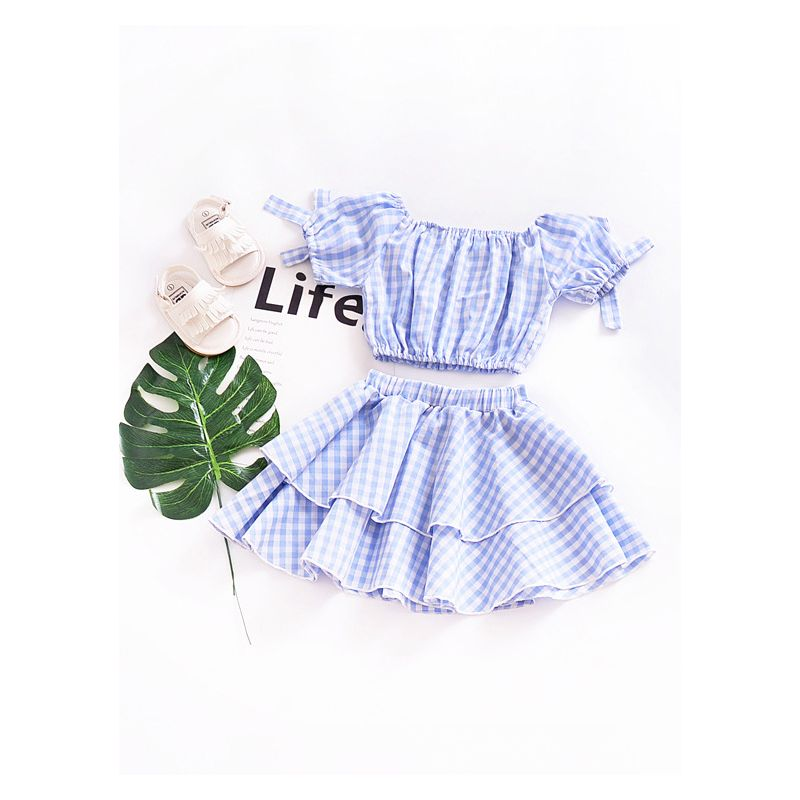 2PCS Baby Toddler Girl Summer Clothes Outfit Set Checked Short Top+Pleated Skirt