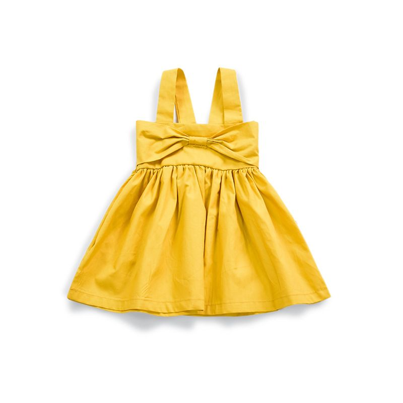 Yellow Big Bow Ruffled Suspender Dress Infant Girl Summer Casual Dress