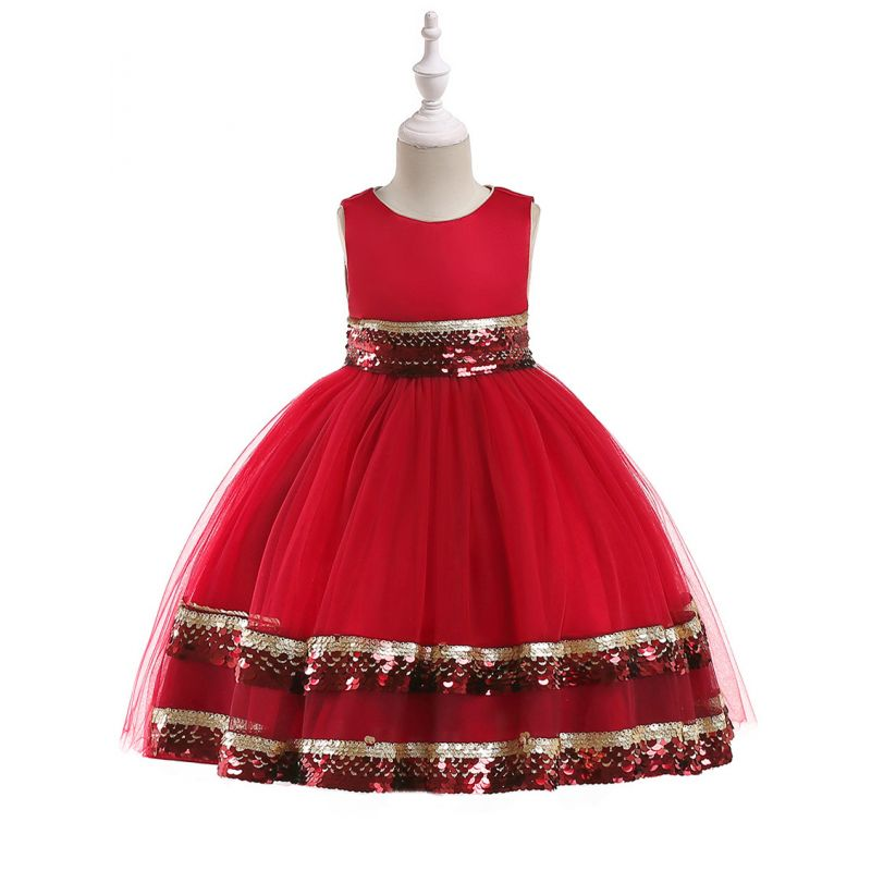 Fancy Sequined Lace Bodice Party Dress Kids Toddler Big Girl Christmas Ball Gown Costume Dress