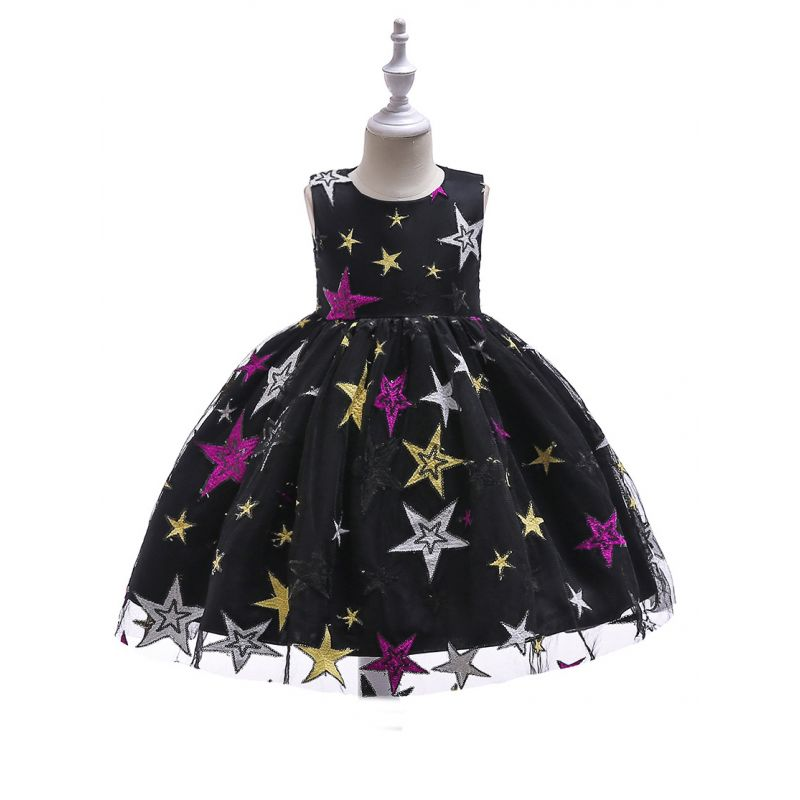 Sequined Star Fit and Flare Tulle Dress Children Princess Party Dress for Summer