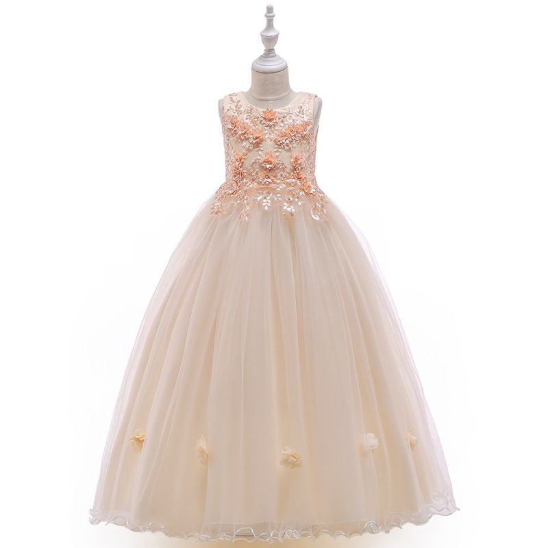 Stylish Sleeveless Floral Embroidery Bodice Tulle Fit & Flare Kids Princess Wedding Party Frock Dress Costume