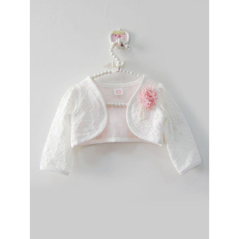 Stylish Baby Girl White Illusion Lace Dress Coat Short Bolero Jacket