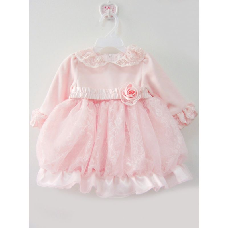 Adorable Beaded Flower Infant Girl 1st Birthday Party Dress Princess Lace Pink Frock Spanish Style Baby Clothing