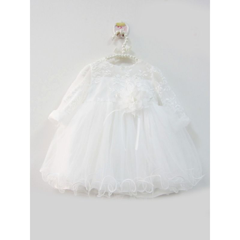 Fancy Flower Beaded Lace White Tulle Baby Princess Baptism Dress Christening Gown Infant Girls 1st Birthday Frock