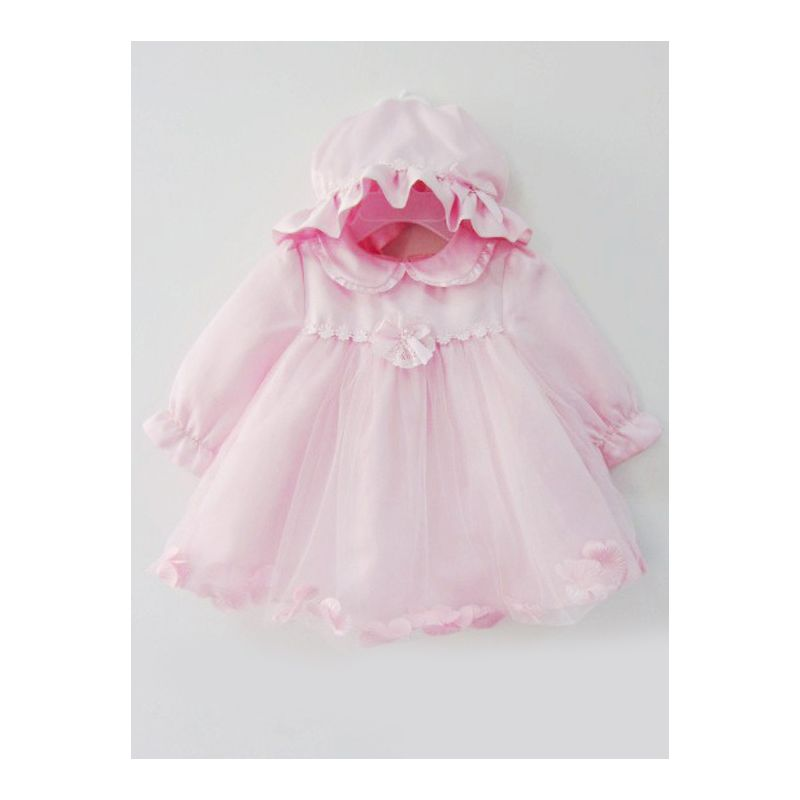 Fancy Peter Pan Collar Flower Bow Trimmed Pink Baby 1st Birthday Dress with Hat Christening Gown