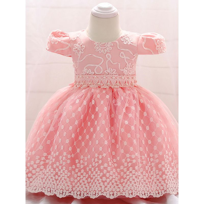 Pink Cap Sleeve Floral Beaded 1st Birthday Princess Dress Spanish Style Baby Mesh Frock