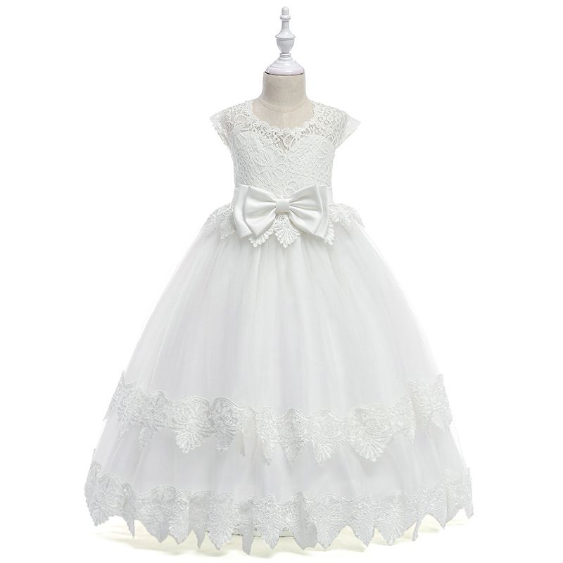 c2985e29955 Floral Pierced Big Bow First Holy Lace Communion Dress Flutter Sleeve Flower  Girl Tulle Frock