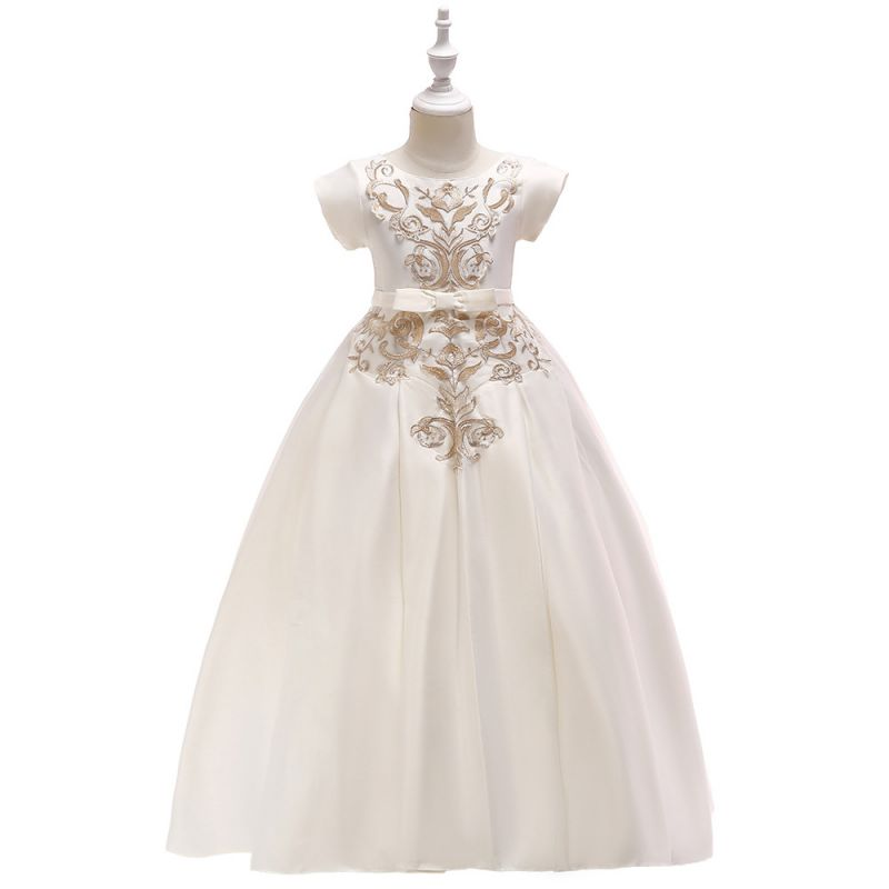 Off-white Floral Embroidery Fit & Flare Flower Girl Dress Bodice Children Princess Evening Dress Costume