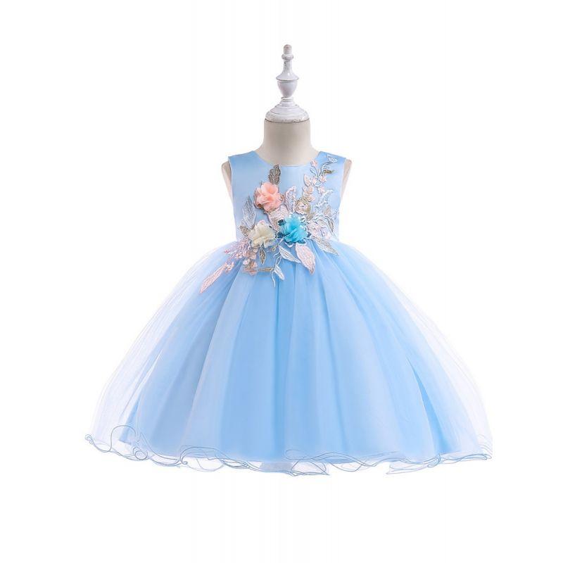 Sleeveless Flower Embroidery Toddler Big Girl Princess Bodice Dress with Overlay Tulle Skirt