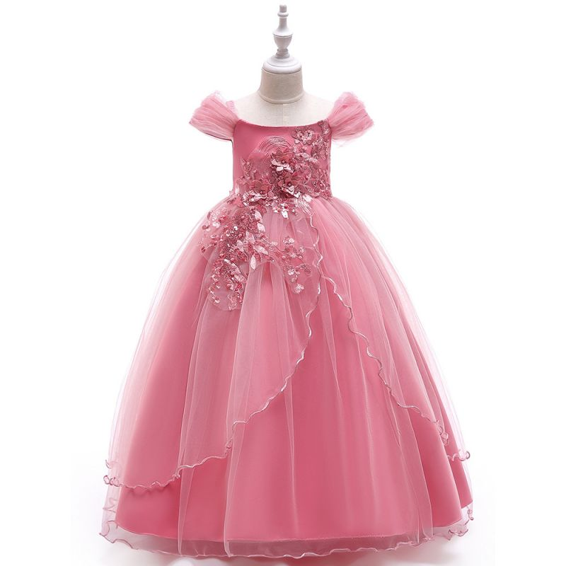 Sequined Floral Beaded Sheer Illusion Sleeves Fit & Flare Flower Girl Dress Princess Evening Dress with Overlay Tulle Skirt for Costume Ball