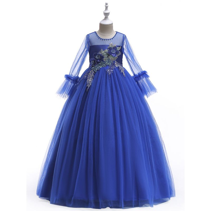 Fancy Sequined Flower Beaded Fit & Flare Princess Dress Tulle Bodice Mesh Mandarin Sleeve Junior Costume Party Frock