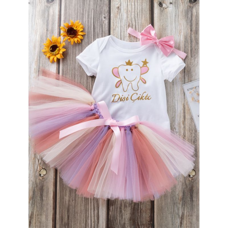 3PCS Baby Girl Party Dancing Outfit Set Cartoon Short Sleeve Romper+Bow Multicolor Tutu Skirt+Pink Bowknot Headband