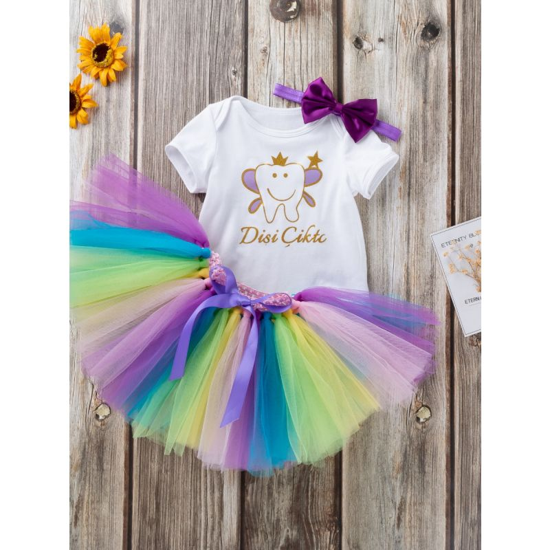 3PCS Infant Girl Party Clothing Outfit Set Cartoon Short Sleeve Onesie+Bow Multicolor Tutu Skirt+Purple Bow Headband