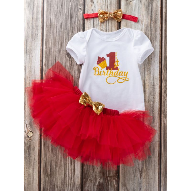3PCS Baby Girl First Birthday Outfit Set Gold Shiny 1st Birthday Romper Short Sleeve+Red Tutu Skirt+Gold Sequined Bowknot Headband