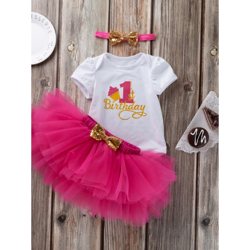 3PCS Infant Girl 1st Birthday Tutu Set  Gold Shiny 1st Birthday Onesie Short Sleeve+Bow Tutu Skirt+Gold Sequined Bowknot Headband
