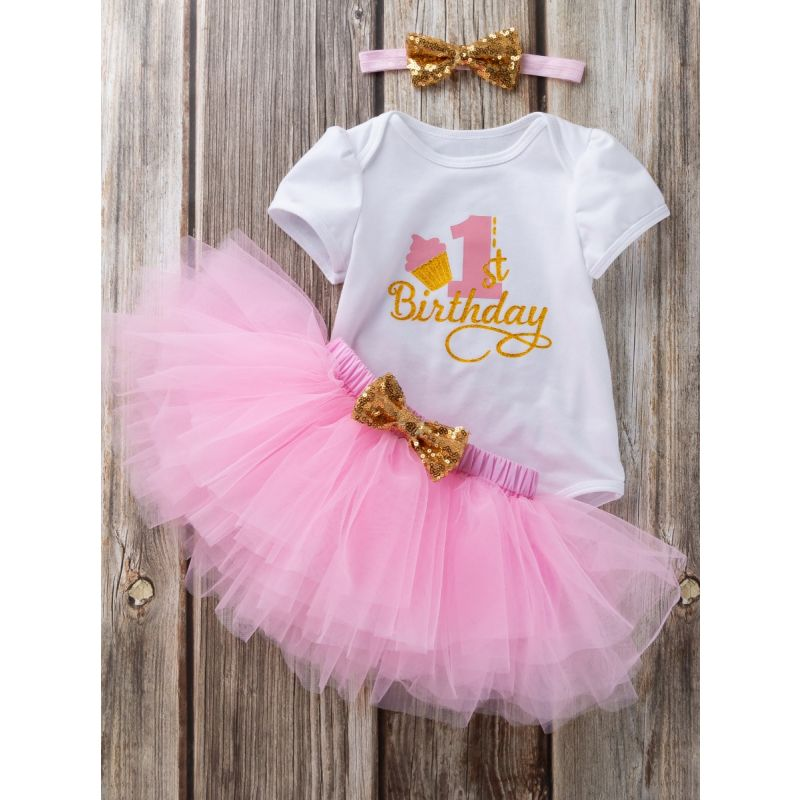3PCS Baby Toddler Girl  Birthday Outfits Set Gold Shiny 1st Birthday Bodysuit Short Sleeve+Pink Tutu Skirt+Gold Sequined Bowknot Headband