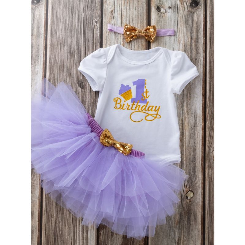 3PCS Baby Toddler Girl 1st Birthday Clothes Outfit Set Gold Shiny 1st Birthday Onesie Short Sleeve+Light Purple Tutu Skirt+Gold Sequined Bowknot Headband