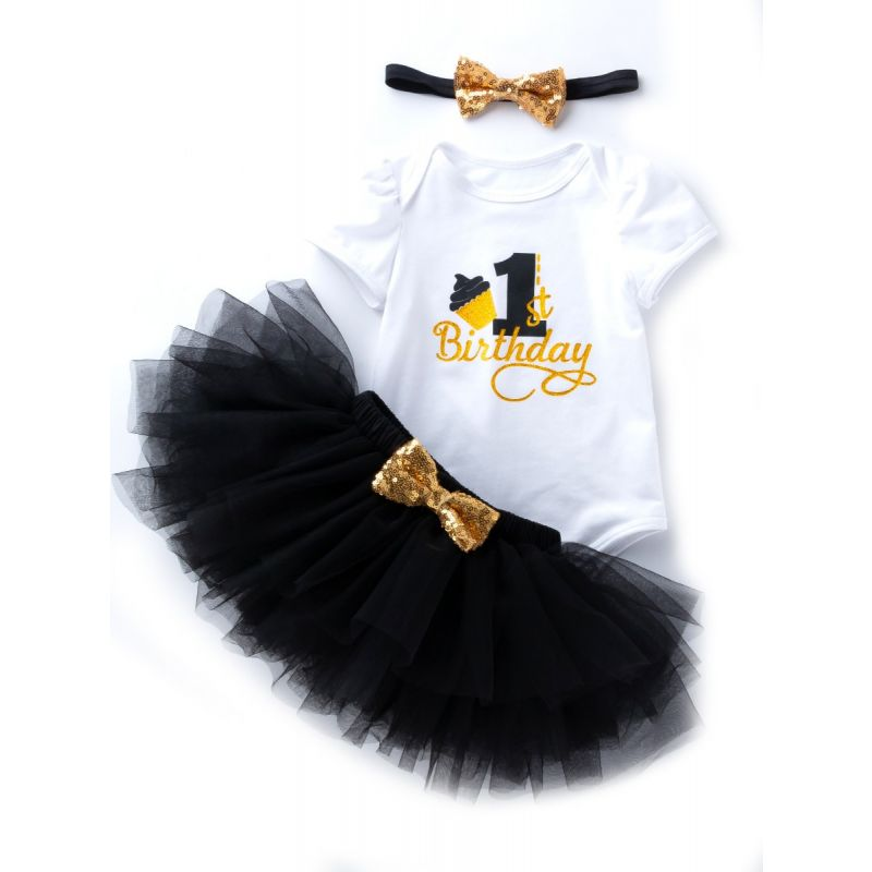 3PCS Baby Toddler Girl 1st Birthday Clothing Outfit Set  Gold Shiny 1st Birthday Onesie Short Sleeve+Black Tutu Skirt+Gold Sequined Bowknot Headband
