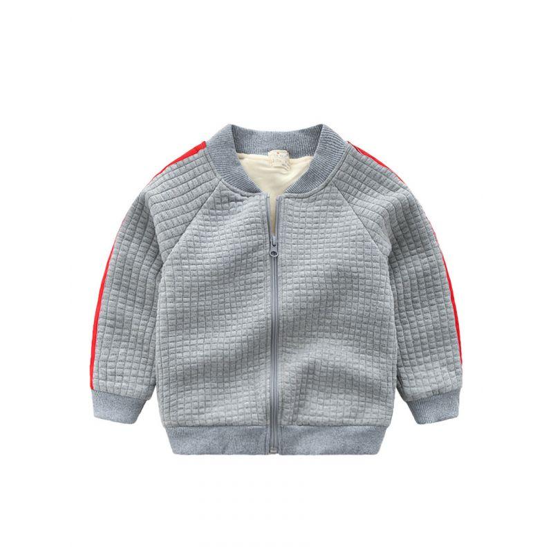 5PCS/PACK Side Striped Fleece-lined Kids Jacket Toddler Big Boys Winter Warm Coat Outwear